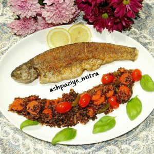 غذاهای دریایی با کینوا