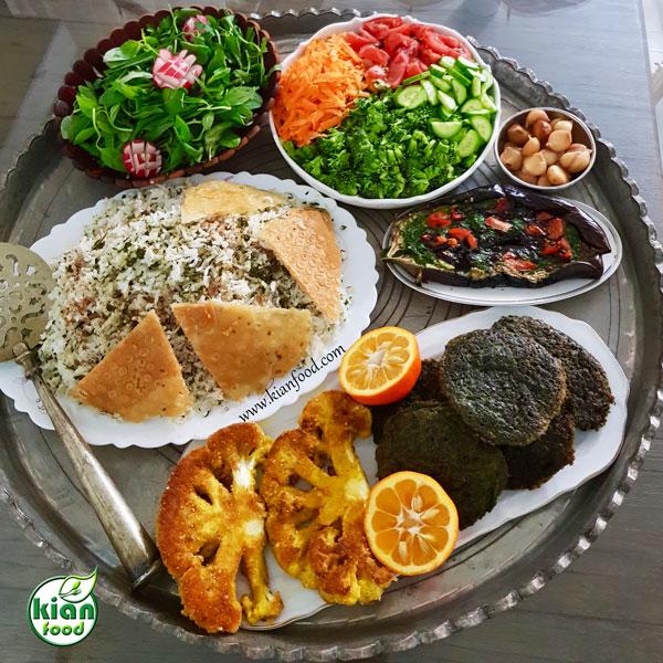 سبزی پلو شب عید با کلم سوخاری